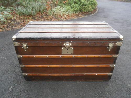 Antique Goyard Trunk Steamer Trunk Coffee Table Luggage Louis