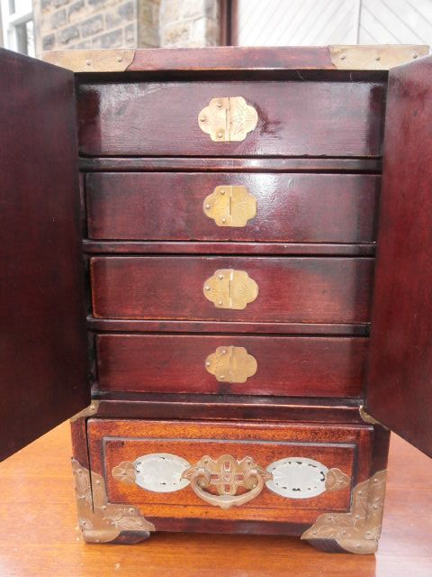 Antique Oriental Chinese Table Cabinet Chest Jewellery Box