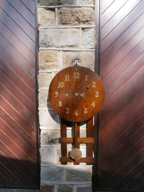 Antique arts crafts oak wall clock 269530 for Arts and crafts style wall clock