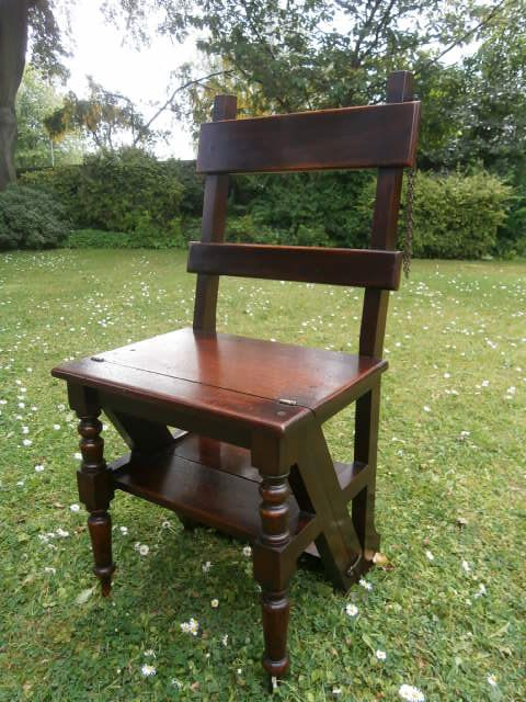 Cool Antique Mahogany Folding Library Steps Library Chair Beatyapartments Chair Design Images Beatyapartmentscom