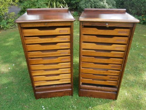 Pair Antique Oak Tambour Front Filing Cabinets Music Cabinets
