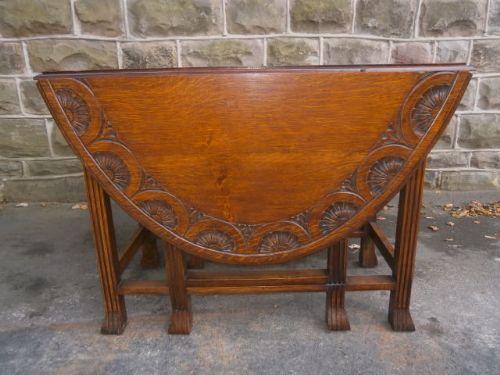 Antique carved oak drop leaf dining table kitchen table for Oak kitchen table with leaf