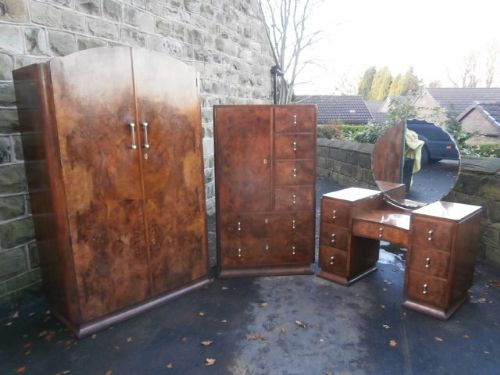 Art Deco Burr Walnut Bedroom Set Bedroom Suite 312310