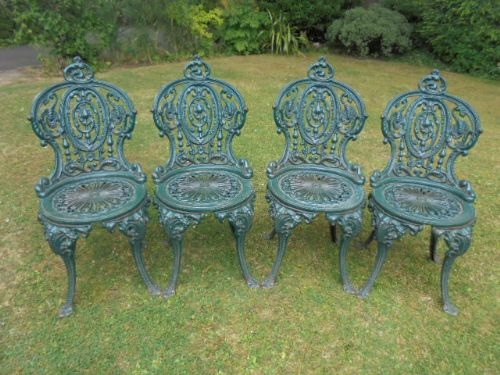 Antique Set 4 Cast Iron Garden Chairs Patio Chairs Part 69