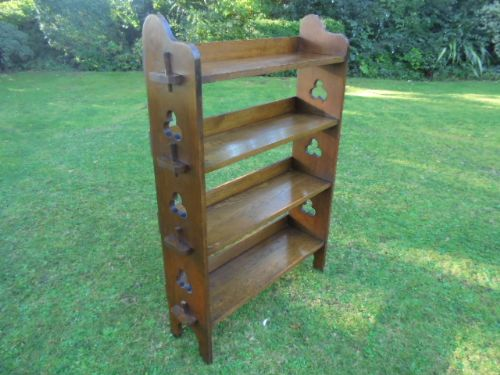 Antique Oak Arts Crafts Open Bookcase Bookshelves