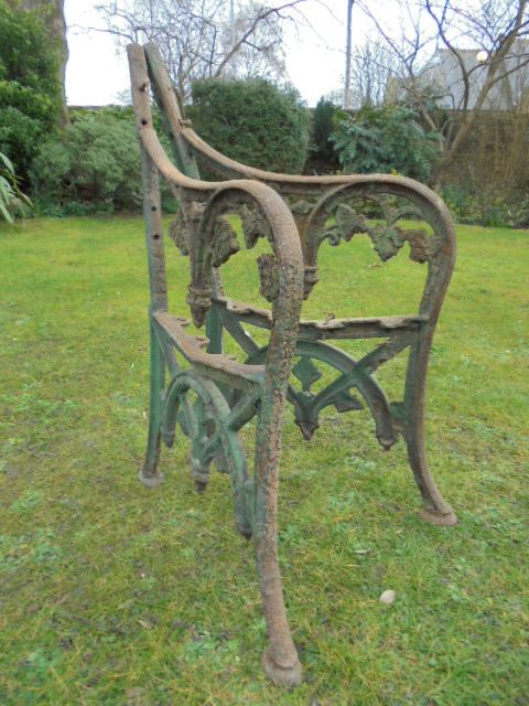 Pair Antique Cast Iron Garden Bench End Garden Seat 395605