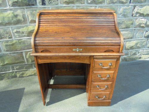 antique oak roll top desk writing desk - Antique Oak Roll Top Desk Writing Desk 397346 Sellingantiques