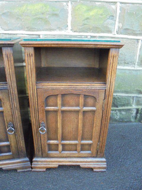 Pair Antique Oak Bedside Cabinets Bedside Table