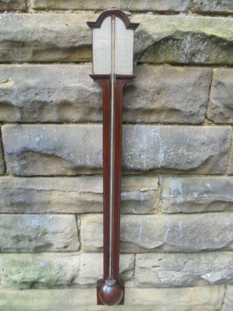 antique inlaid mahogany stick barometer