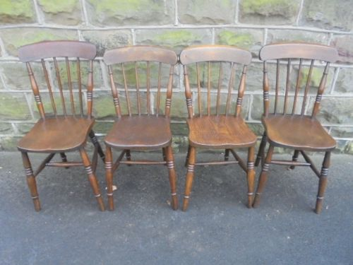 Antique Set 4 Ash Elm Farmhouse Kitchen Chairs 445953 Sellingantiques Co Uk