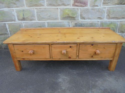 Antique Pine Farmhouse 3 Draw Coffee Table 453680