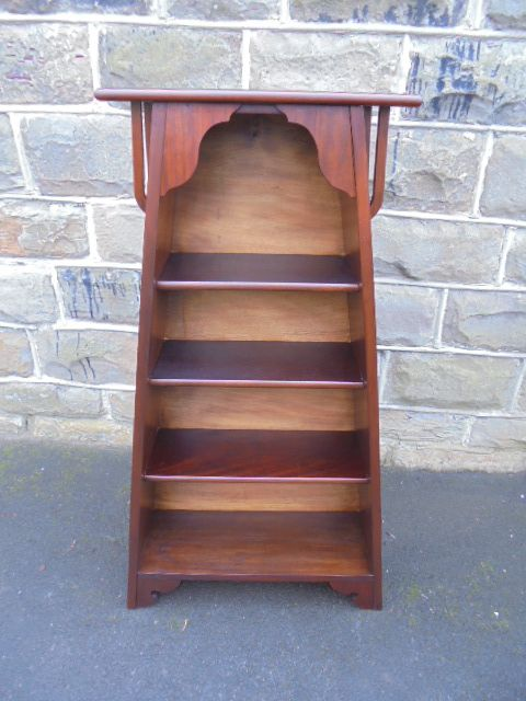 antique art nouveau mahogany open bookcase