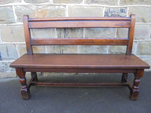 nice sized antique pitch pine hall seat bench