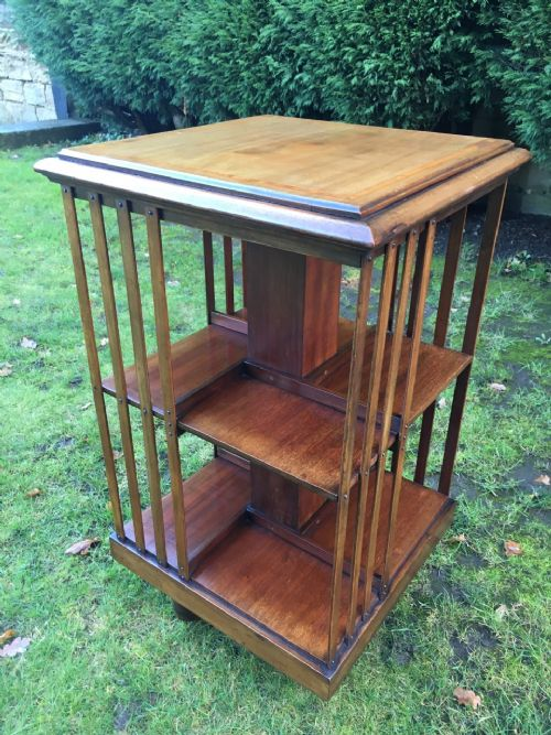edwardian inlaid mahogany revolving bookcase