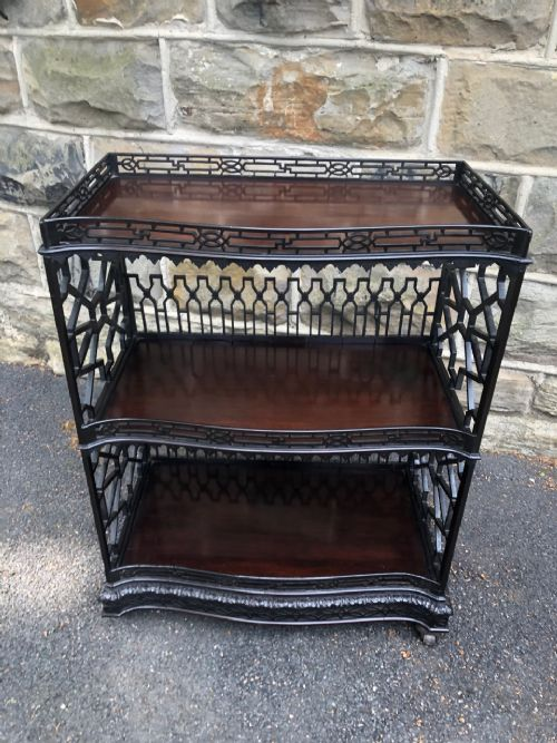 chippendale revival mahogany etagere side table