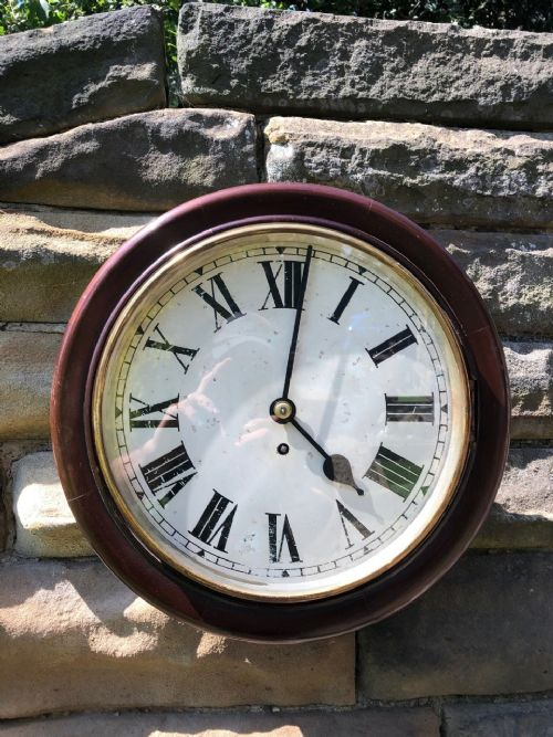 antique mahogany fusee station wall clock