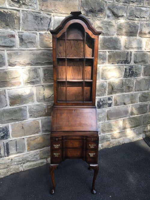 antique slim figured walnut bureaux bookcase