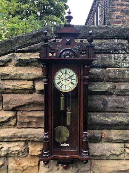 antique walnut double weight vienna wall clock gustav becker