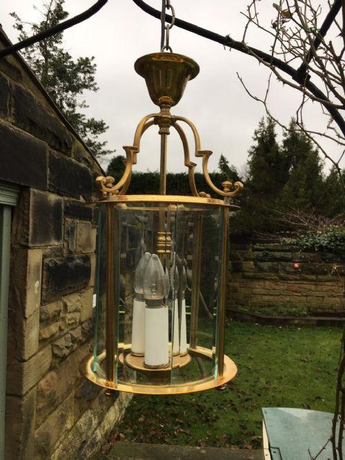 quality brass cylindrical glazed lantern