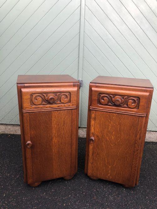 pair antique oak bedside cabinets