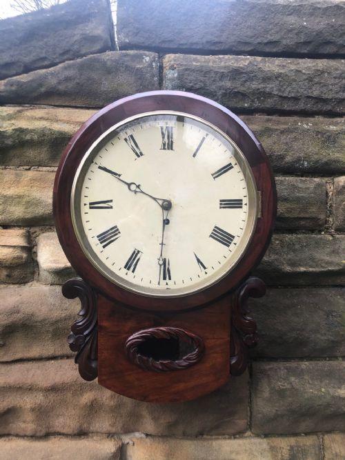 antique mahogany drop dial fusee wall clock
