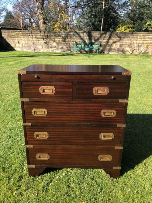brass bound mahogany military campaign chest