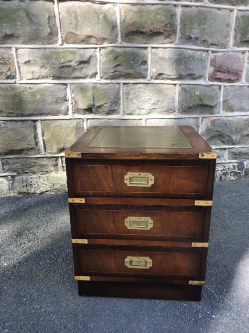 brass bound mahogany military style chest draws