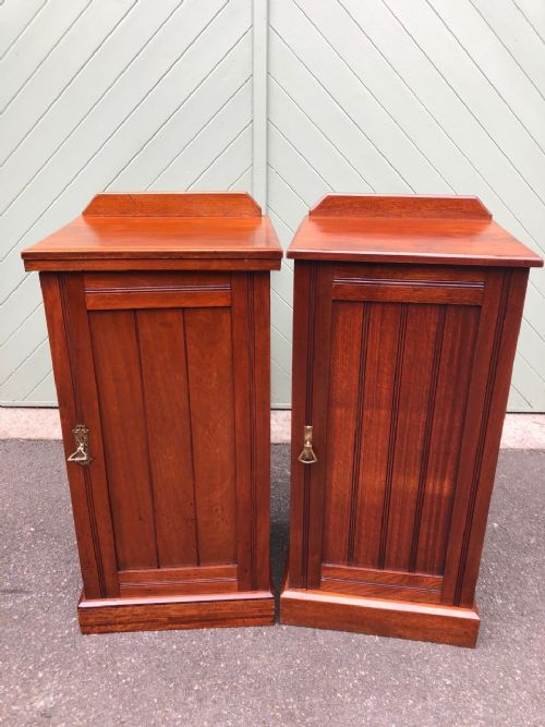 matched pair antique walnut bedside cabinets