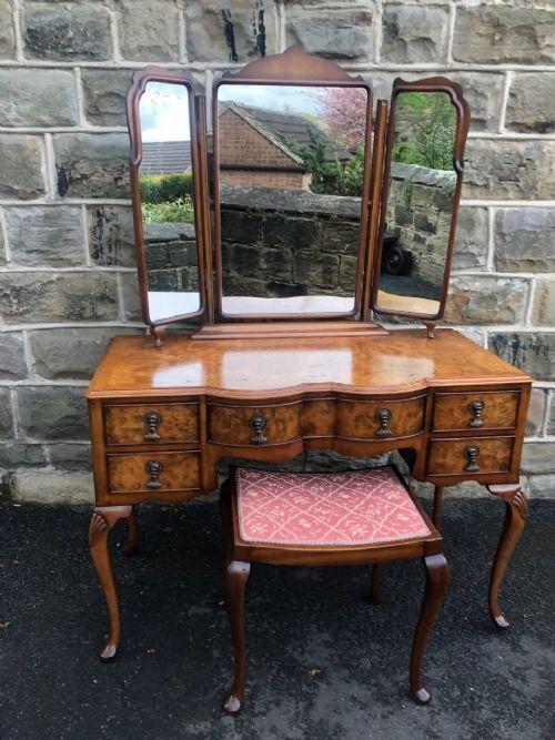 antique burr walnut dressing table stool