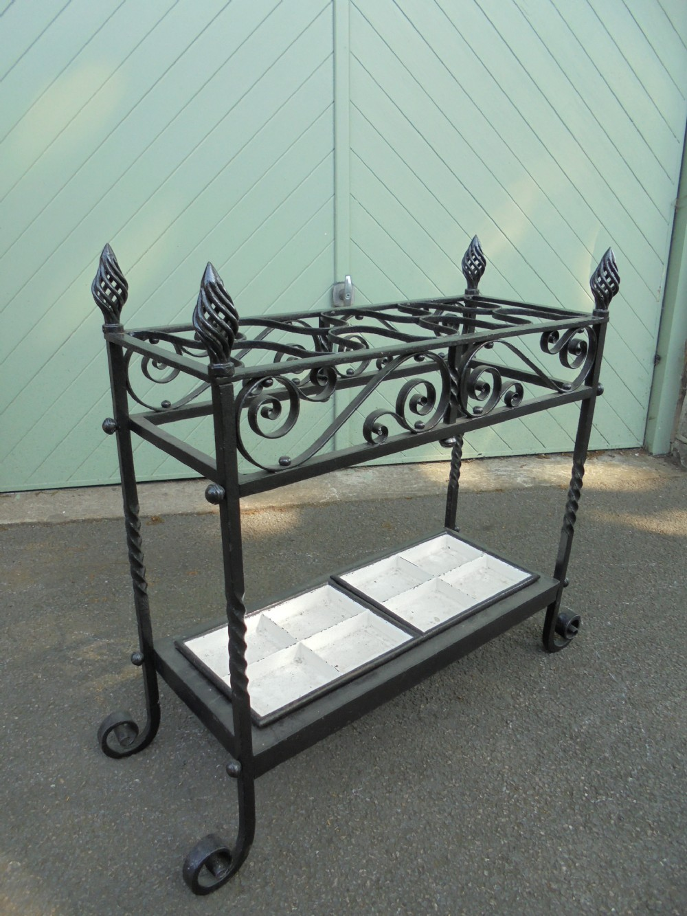 ornate antique cast iron stick stand