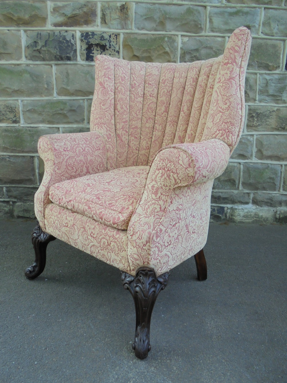 antique english barrel back wing armchair