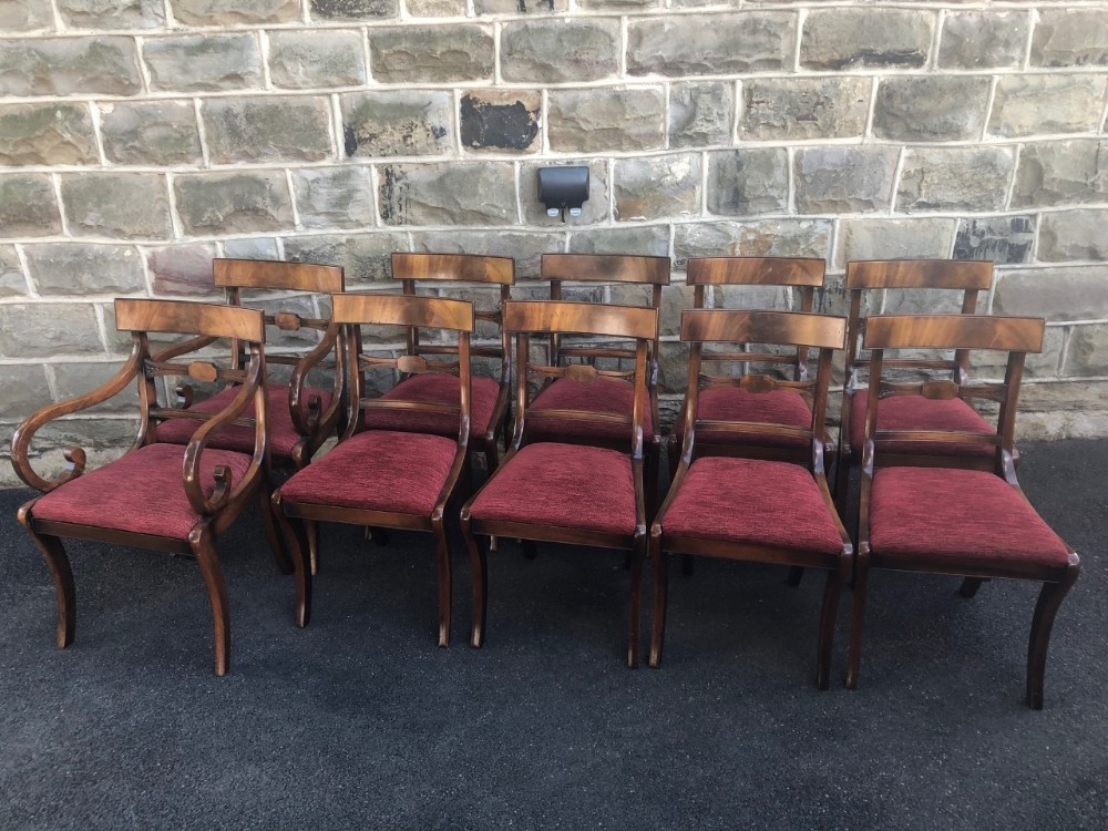 antique set 10 mahogany dining chairs