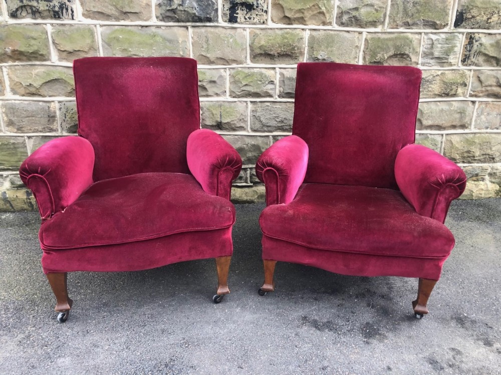 pair antique english upholstered armchairs for recovering