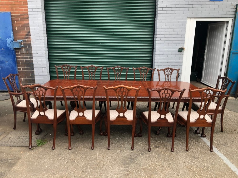 quality mahogany dining table 12 matching chairs