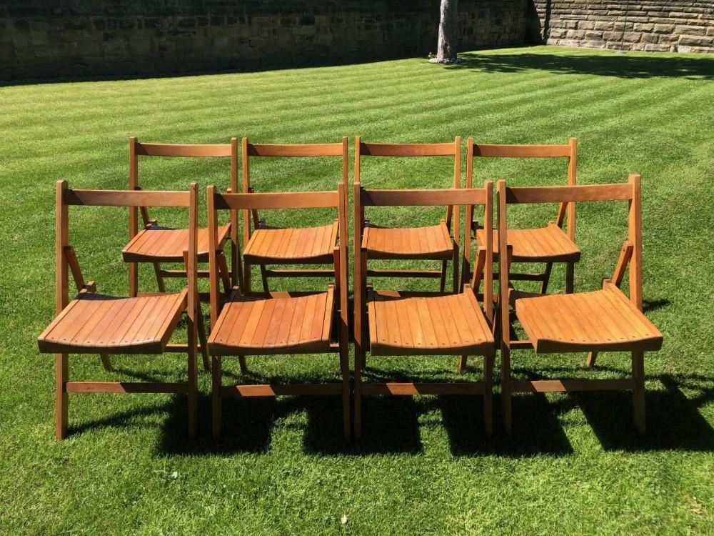 antique set 8 folding beech chairs