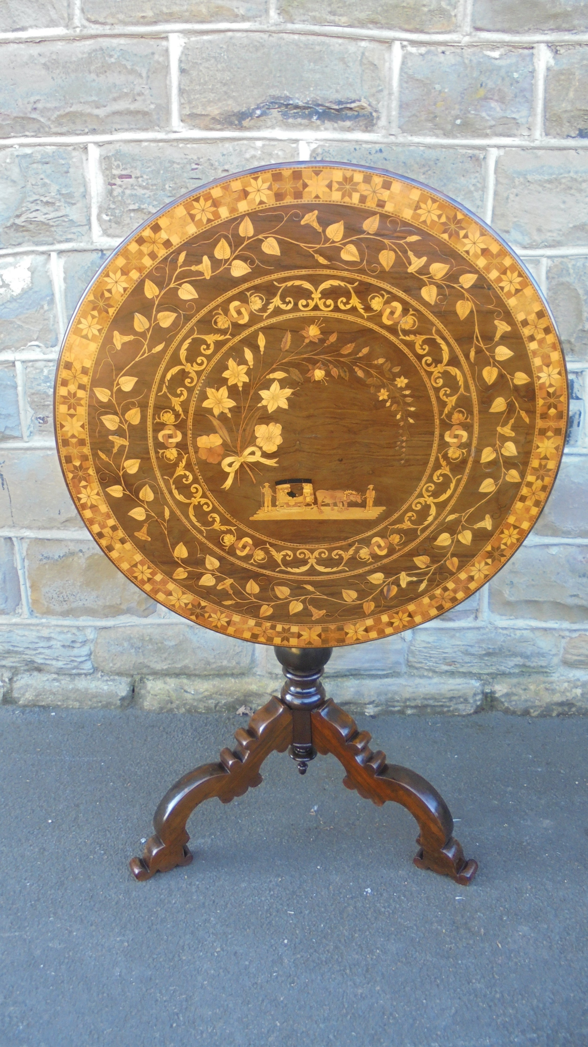 antique marquetry inlaid tripod writing table