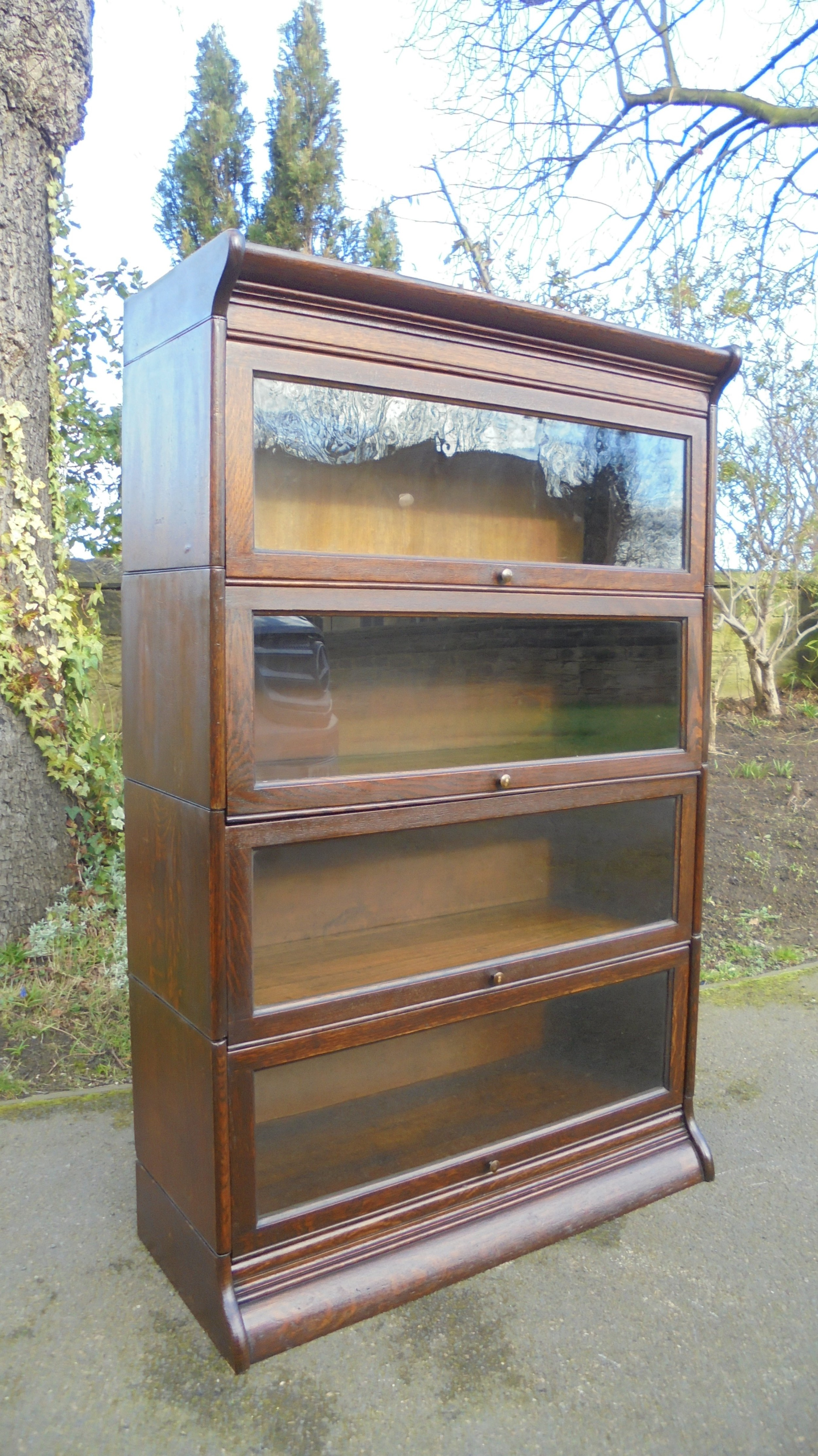antique oak sectional stacking bookcase by gunn