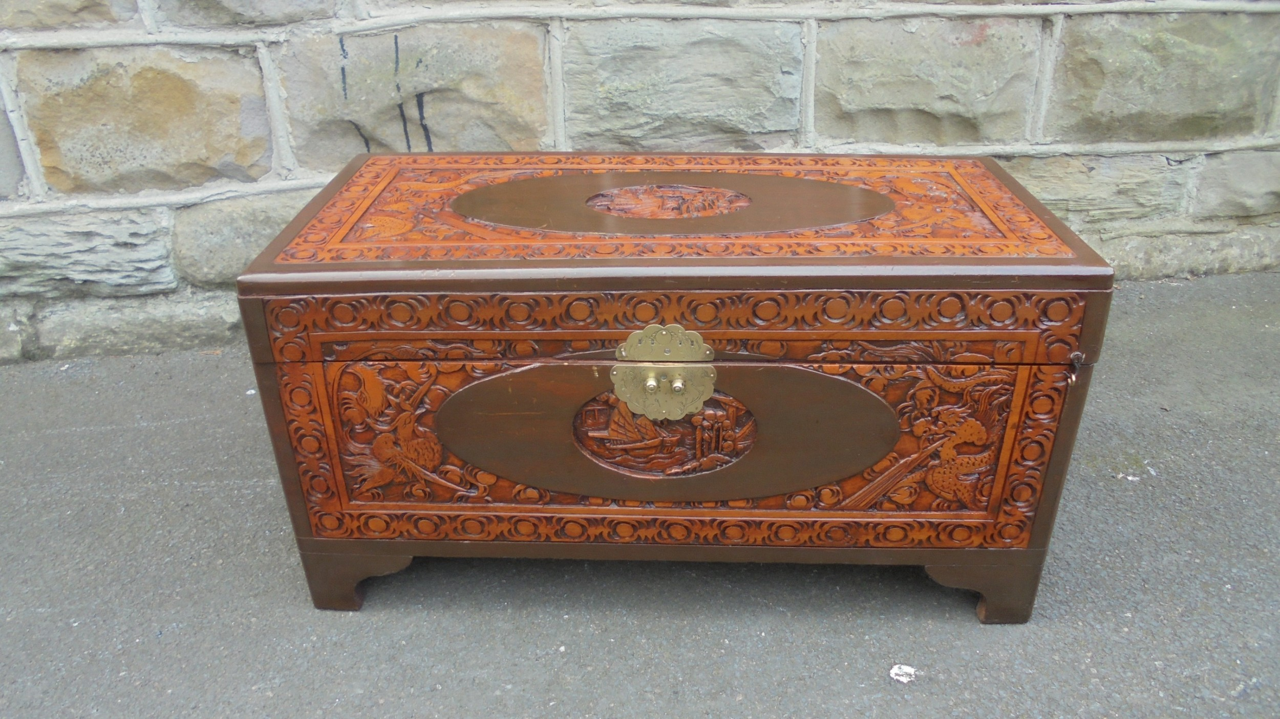 antique oriental chinese camphor trunk