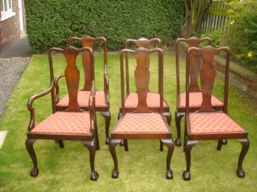 Set 6 mahogany queen anne style dining chairs kitchen for Queen anne style kitchen