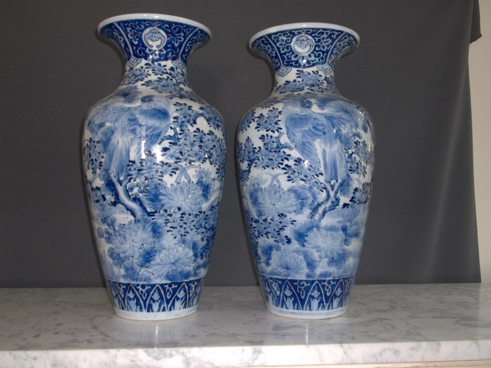 Pair Of 19th Century Blue And White Japanese Vases 279952