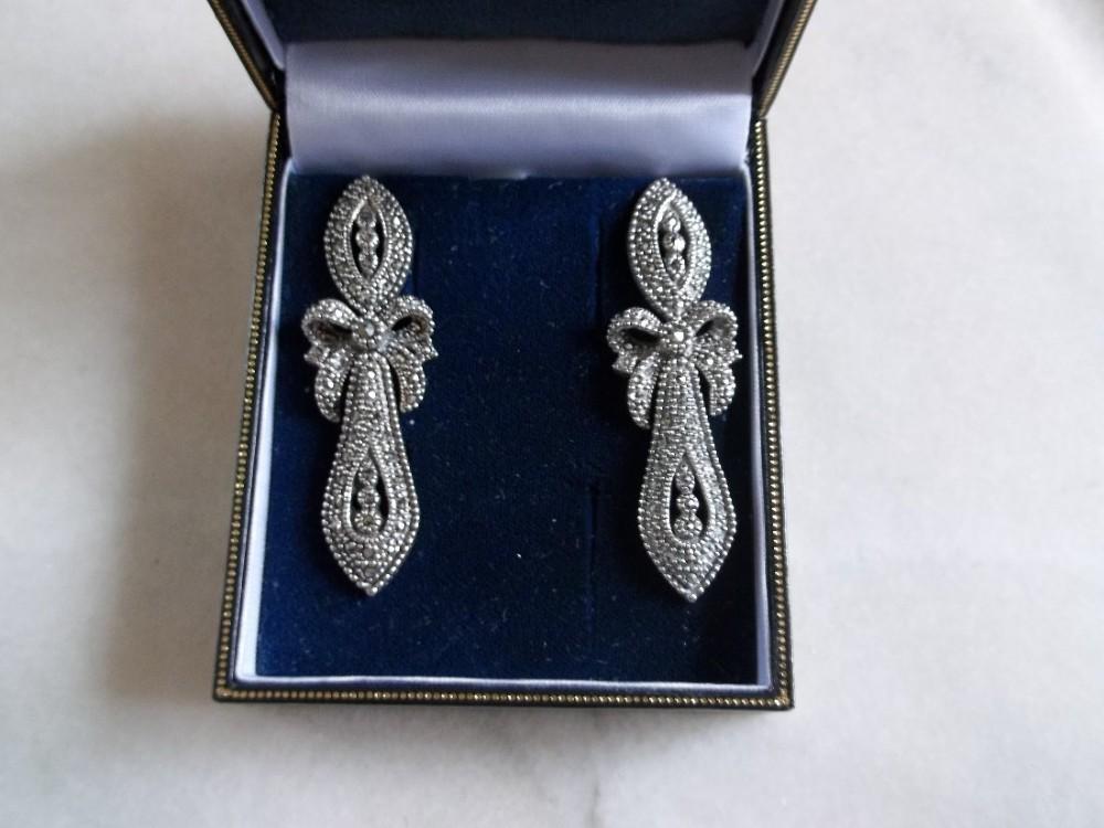 beautiful pair of russian silver marcasite earrings