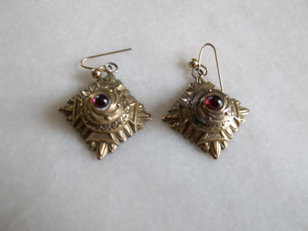 victorian rolled gold garnet drop earrings