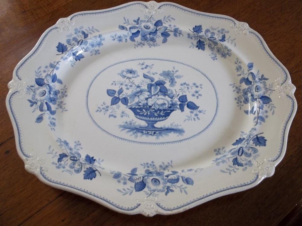 blue and white serving dish by j w ridgway 1814 1830