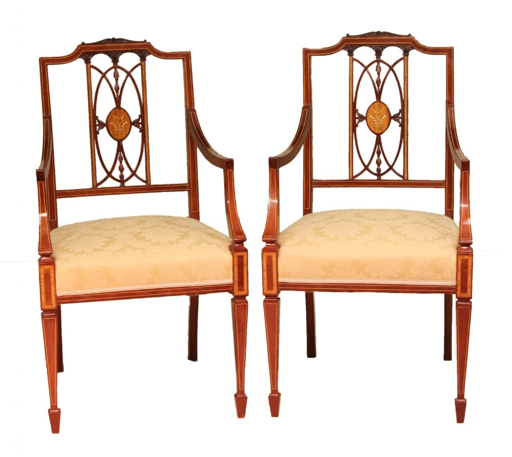a fine pair of quality late victorian mahogany inlaid arm chairs
