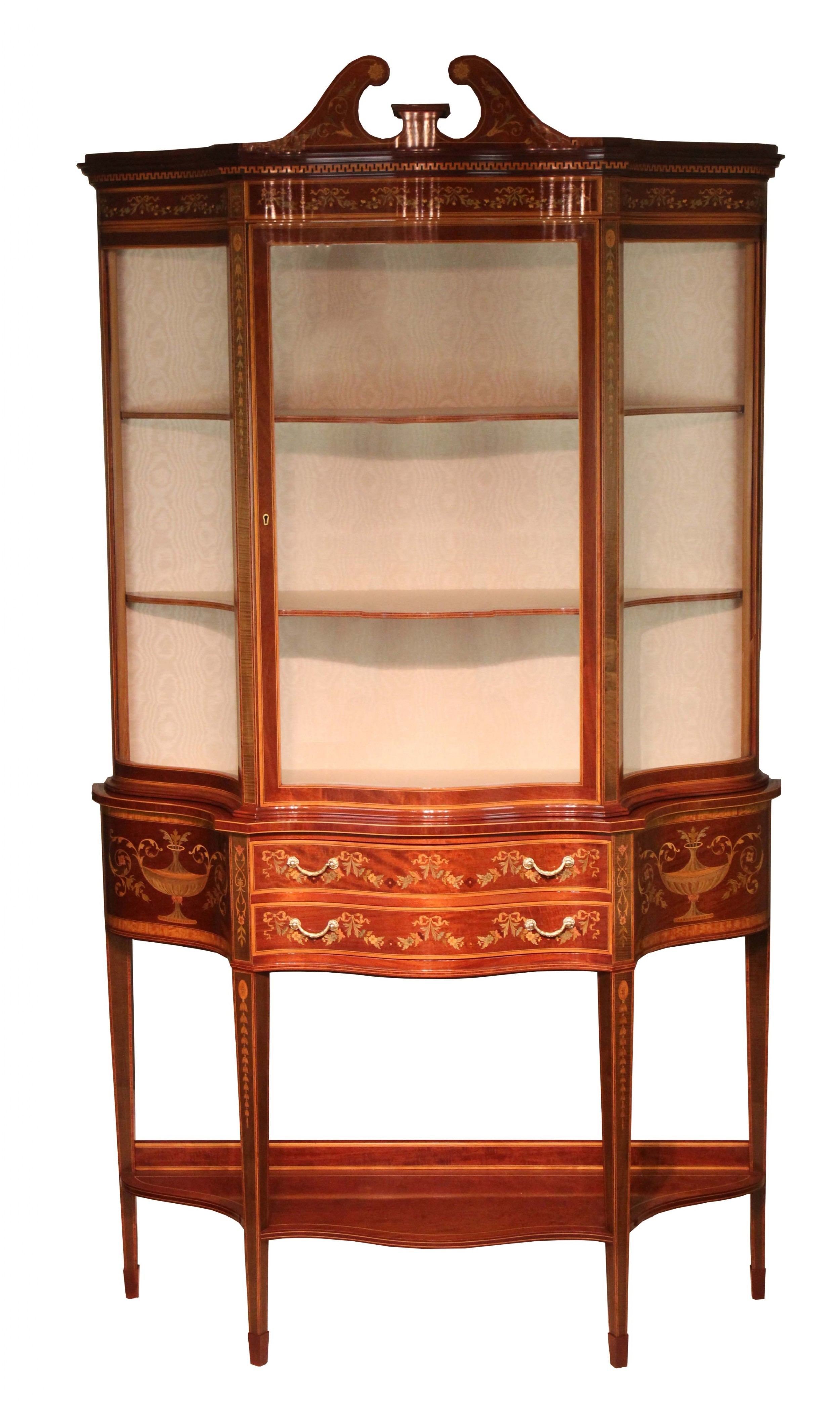 a fine late 19th century edwards roberts serpentine display cabinet