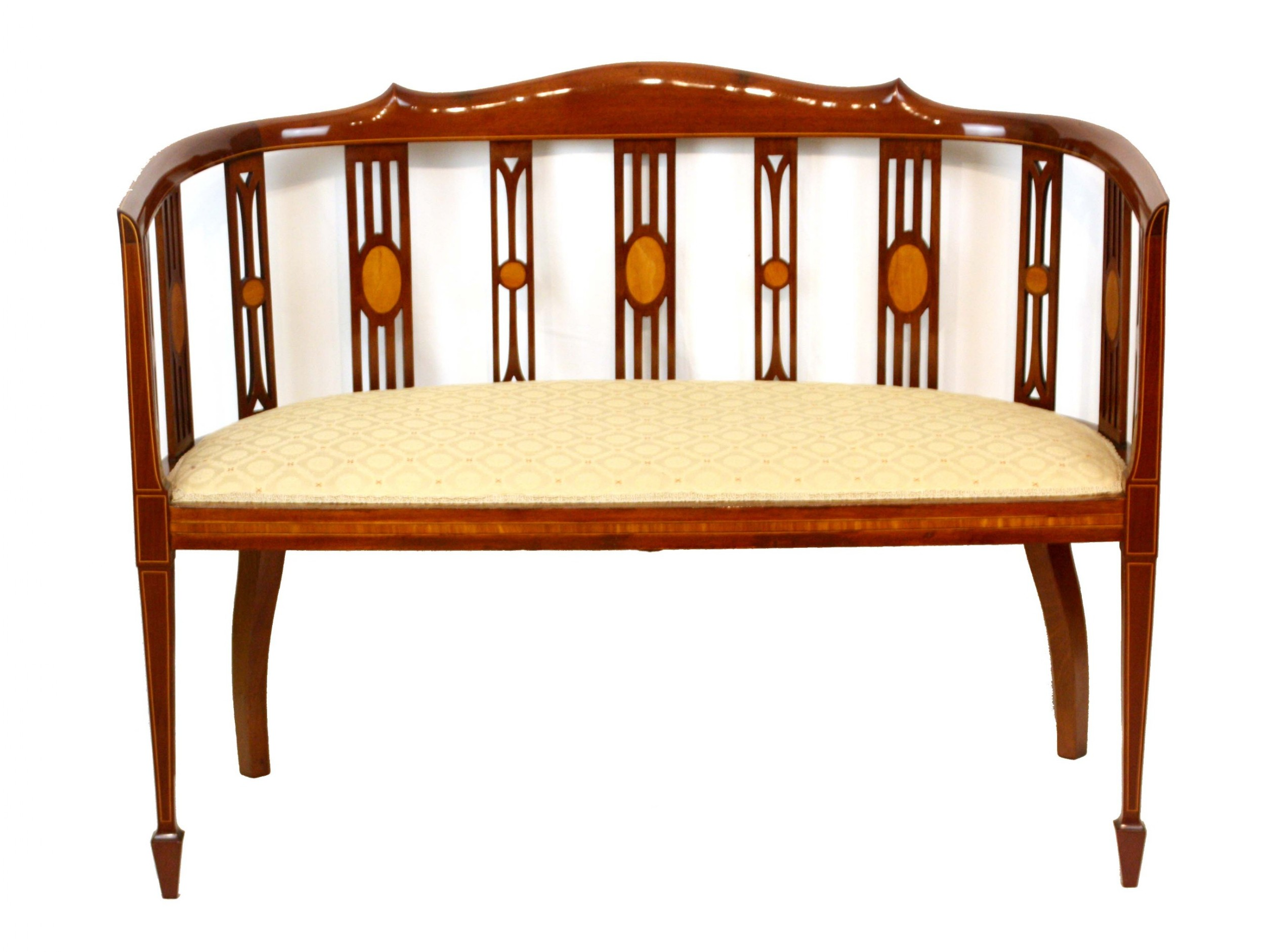 a fine late victorian mahogany inlaid upholstered settee