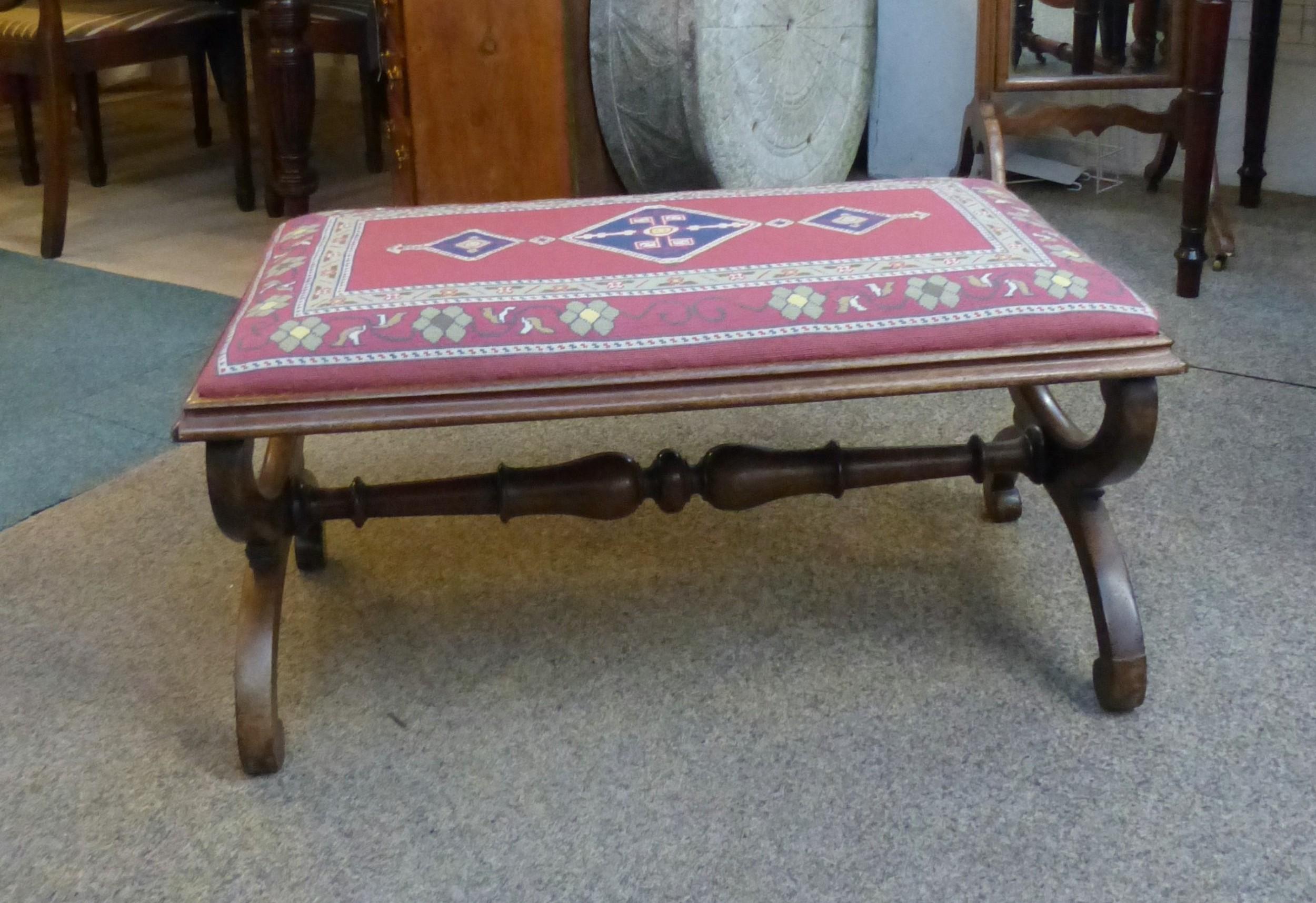 antique walnut stool