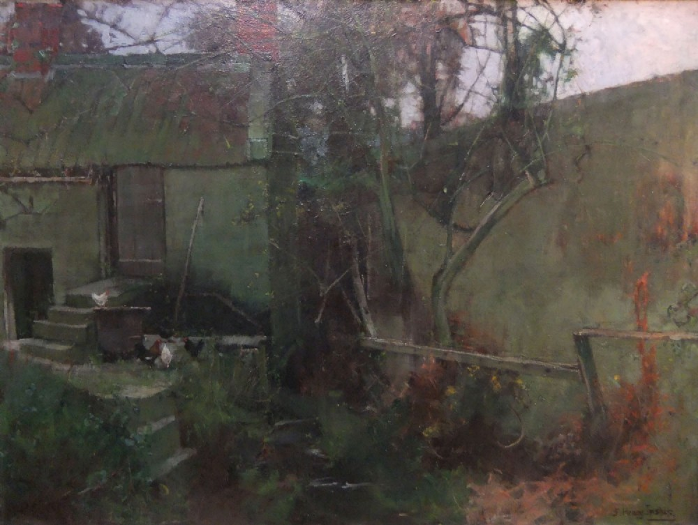 henry inskip a cottage holding north yorkshire oil painting