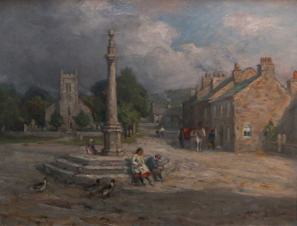 william greaves market place milnthorpe westmorland oil painting