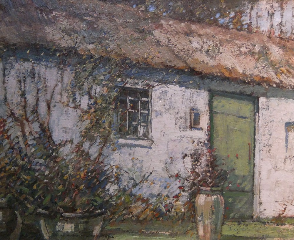 kershaw schofield the white cottage oil painting on panel